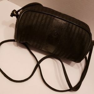 Fendi black vintage strip mini crossbody bag